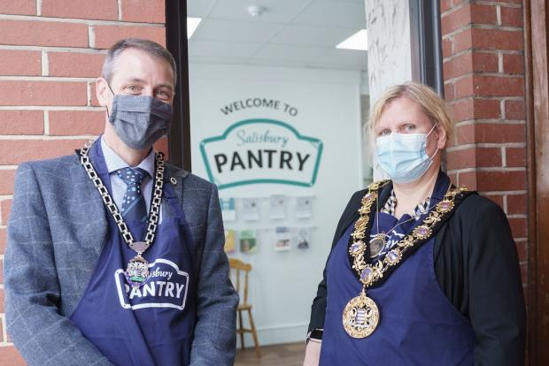 Salisbury Journal: Mayor of Salisbury, Cllr Caroline Corbin and Deputy Mayor, Tom Corbin, volunteered at Your Salisbury Pantry last week. Picture by Ash Mills