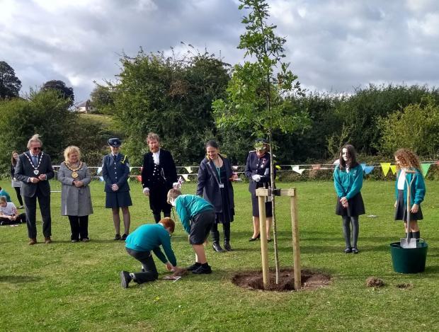 Salisbury Journal: Pembroke Park Primary School - Year 6 children planting time capsules: Maria Radu, Sophie Lock, Harry Gault and James Conio