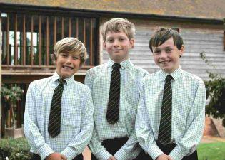 Finn Robinson, Toby Thornton and Charlie Ford, of Forres Sandle Manor School, who are taking part in a language challenge.