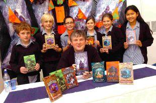 Darren Shan with students at Trafalgar School