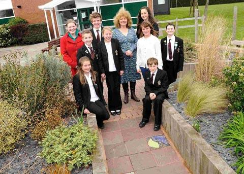 Gill Hickman with representatives from Ringwood School's eco-groups in the Jubilee Garden. DC1369P2