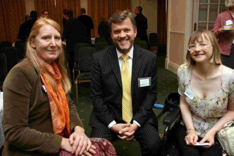 Nick Alward with service users Andrea Walton and Jayne Scott