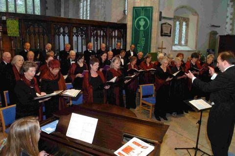Larkhill Choral Society performing at Amesbury Abbey Church under the musical direction of Peter Ford.