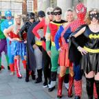 Staff from the Salisbury Journal and Spire FM dress up as superheroes to launch this year's Local Hero Awards. DC1918P3