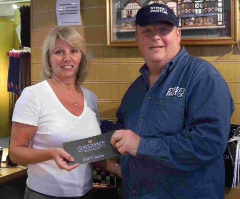 Gentlemen's outfitters Chas Baker donated a £50 voucher towards the street pastors' raffle.