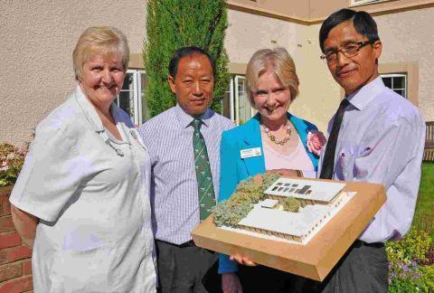 Bishnu Pun (right) and Punendra Limbu with Alison Bremner and Jackie Cash from Braemar Lodge