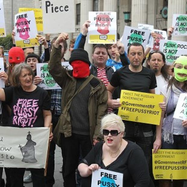 Demonstrators have been protesting after Pussy Riot were found guilty of hooliganism