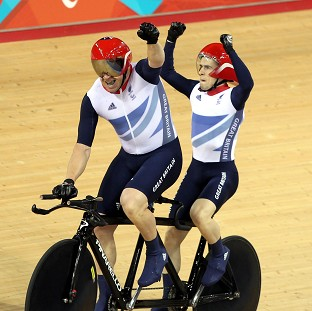 Neil Fachie and Barney Storey won gold in the tandem one-kilometre time-trial