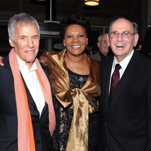 Burt Bacharach, left, and Hal David with singer Dionne Warwick at a musical tribute to Hal on his 90th birthday in LA (AP)
