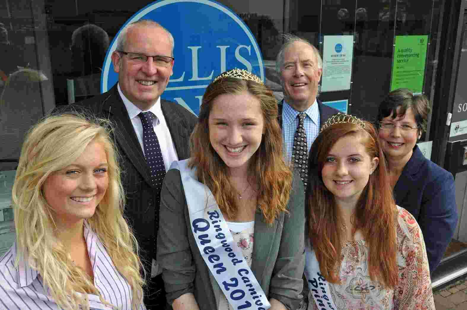 Proud sponsor: Nigel Smith, Ellis Jones Managing Partner (second left) with 2012 Carnival Queen Nancy Soloman, attendants Lizzie Treble (left) and Annie Hopper and Michael Lingam-Willgoss and Linda Card of Ringwood Carnival.