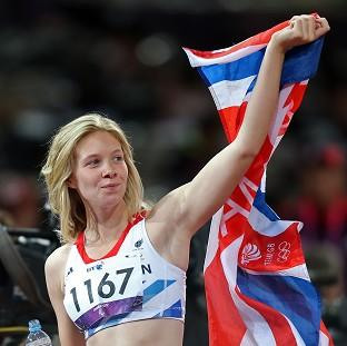 Bethany Woodward celebrates winning silver in women's 200m T37 final