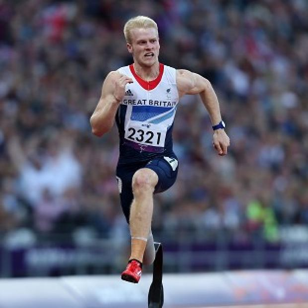 Jonnie Peacock during the 100m T44 heat at the Olympic Stadium