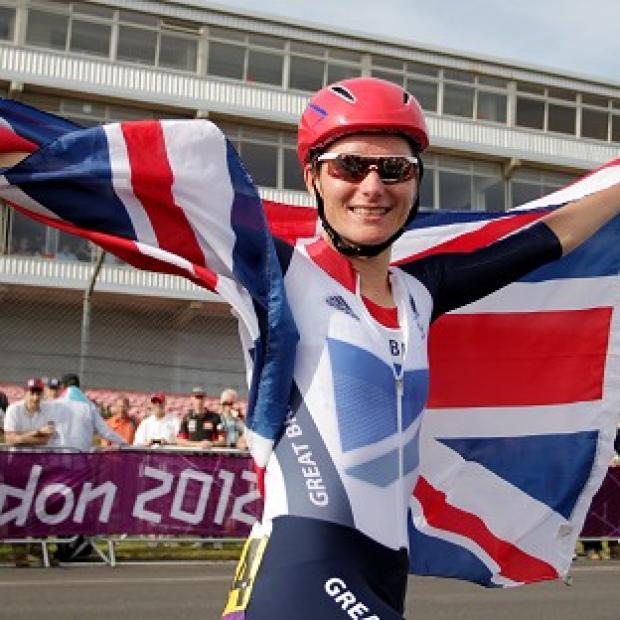 Great Britain's Sarah Storey celebrates after winning the women's individual C 4-5 Road Race at Brands Hatch, Kent