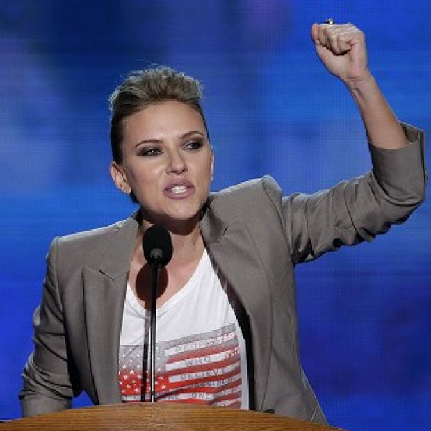 Actress Scarlett Johansson addressed the Democratic National Convention