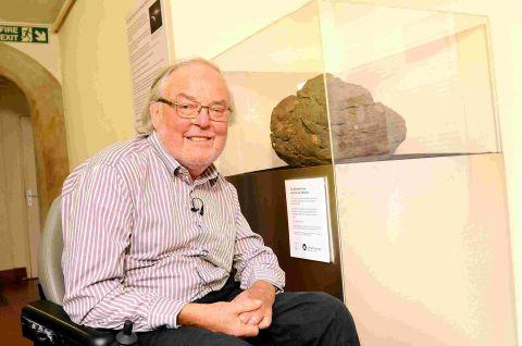 Colin Pillinger with the meteorite