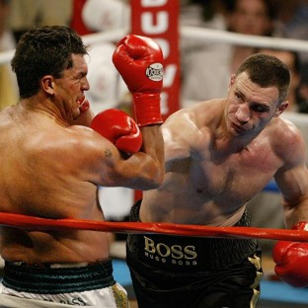 Corrie Sanders, left, during his fight against Vitali Klitschko