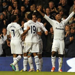 Jermain Defoe, right, celebrates scoring Spurs' winner
