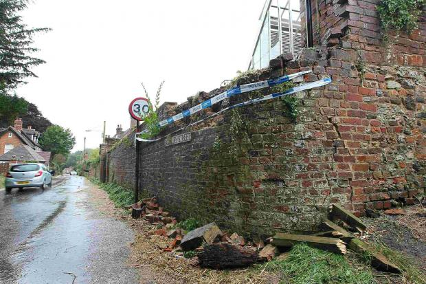 The scene of the serious car crash in Cranborne where a VW Polo crashed into a wall.