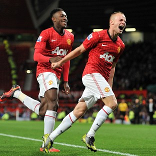 Tom Cleverley, right, celebrates scoring Manchester United's second goal
