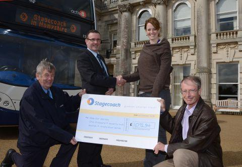 bus driver Chris Pearson, Stagecoach operations manager Pete Robinson, Jennifer Packham from Tedworth House and Activ8 supporter and local councillor Humphrey Jones.