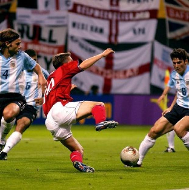 Salisbury Journal: Michael Owen wins a penalty against Argentina at the 2002 World Cup