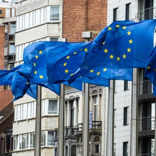Salisbury Journal: Flags wave at the European Commission headquarters in Brussels as it was announced the European Union has won the Nobel Peace Prize (AP)