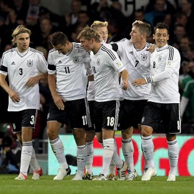 Germany celebrate their fifth goal at the Aviva Stadium, Dublin
