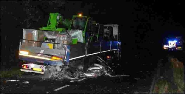 The lorry involved in the fatal accident on the A31 at Poulner Hill, Ringwood this morning.