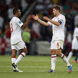Steven Gerrard, right, and Ashley Cole, left, will collect their 99th caps for England against Poland