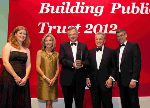 Joanna Wright, TV presenter Mary Nightingale, Mark Alexander, Amyas Morse and Russell Smith from Dstl with their award.