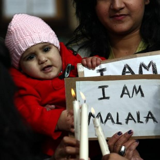 A vigil was held for Malala Yousafzai in Birmingham where she is being treated at Queen Elizabeth Hospital
