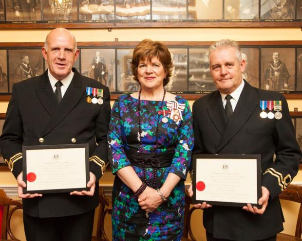 Lt Cmdr Clive Hackett, Lord Lieutenant of Wiltshire Sarah Troughton and Lt Michael Dibben.