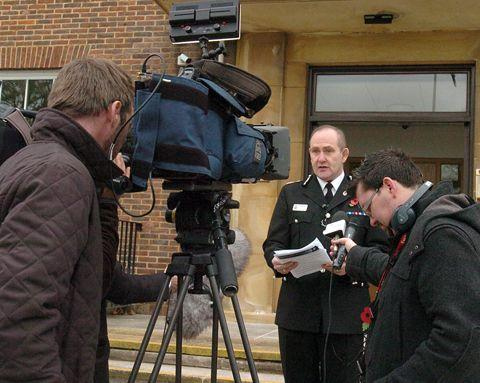 Chief Constable Patrick Geenty speaks outside Devizes Police HQ