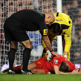 Steven Gerrard was injured in Sunday's 1-1 draw at Chelsea