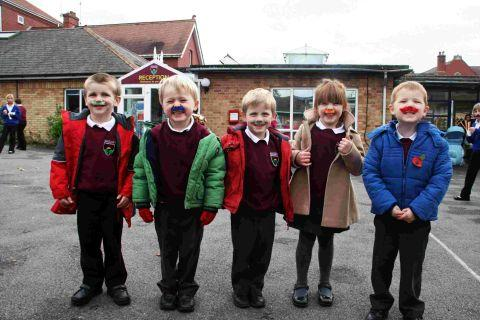 Raising money for Movember at Amesbury Primary