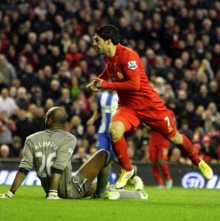 Luis Suarez scored twice in the win over Wigan on Saturday
