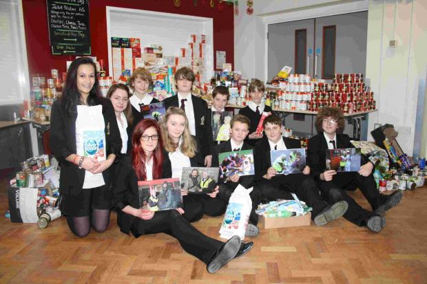 Ringwood School' students with their contributions towards the Danny Cracknell Christmas Homeless Appeal.