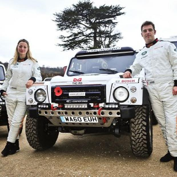 Race2Recovery crew members Cathy Derousseaux and Captain Tony Harris ahead of taking part in the Dakar Rally