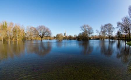 The flooding near Salisbury Cathedral viewed from Harnham. Taken by Colin Froude.