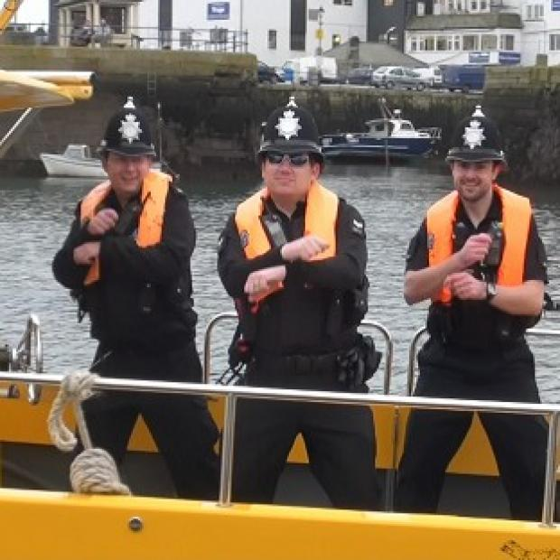 Devon and Cornwall Police officers dancing Gangnam Style