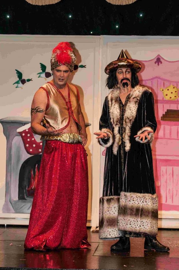 Pete Clarke as Aladdin and Helen Green as Abanazer.