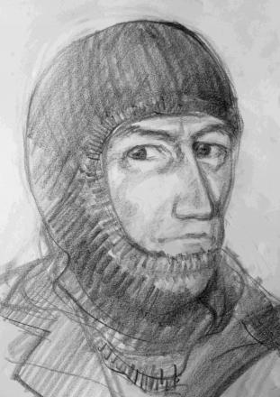 Police artist's impression of the New Forest gunman who robbed a man at Brockenhurst Railway Station and an elderly couple in Rookes Lane in Lymington