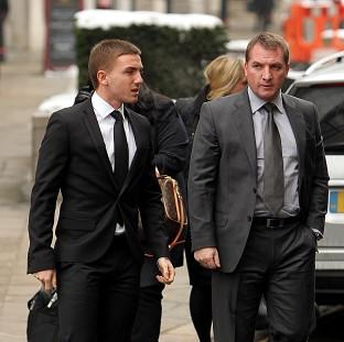 Anton Rodgers , left, with his father Brendan Rodgers, arriving at the Old Bailey