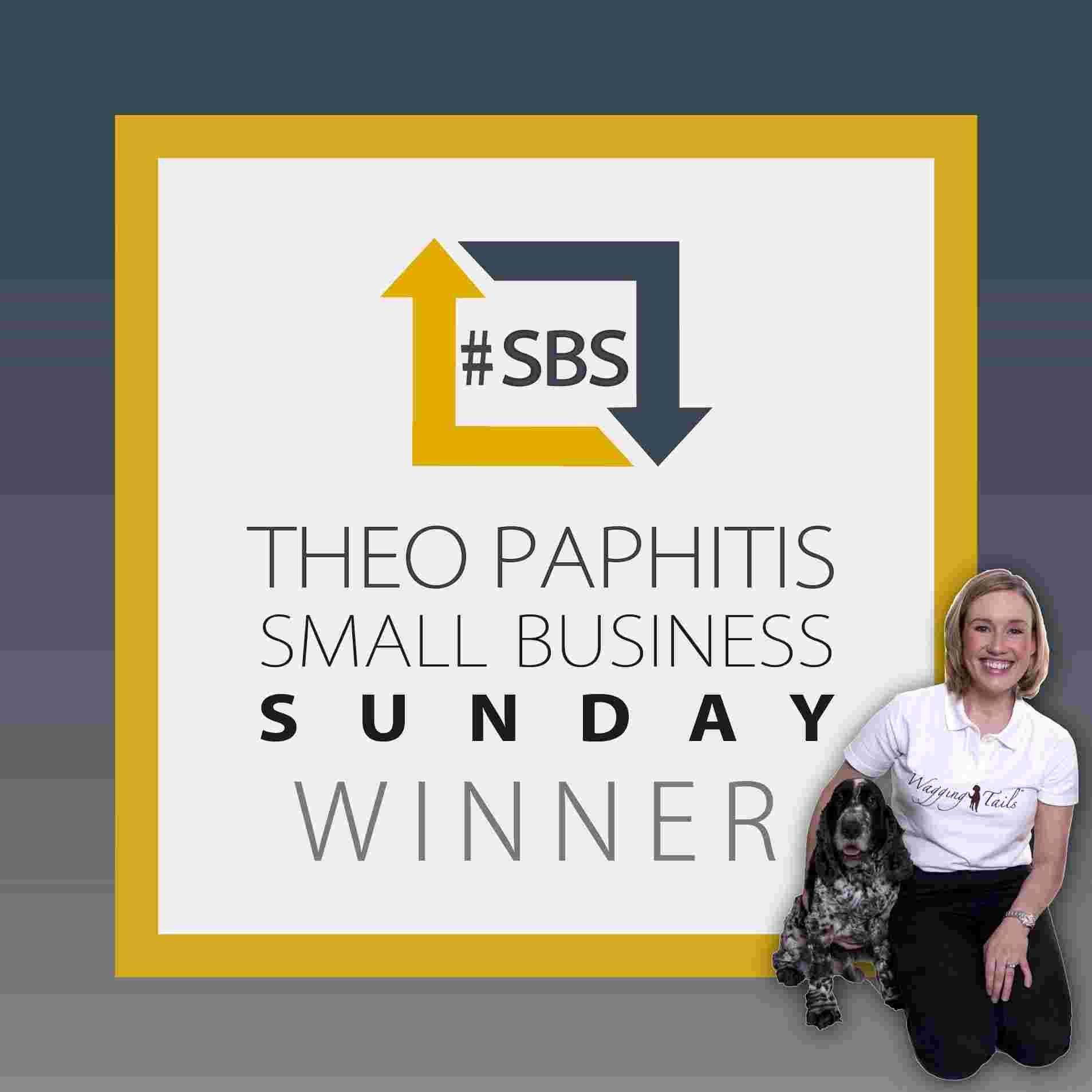 Lisa Suswain and her dog Bailey with Theo Paphitis's #SBS logo.