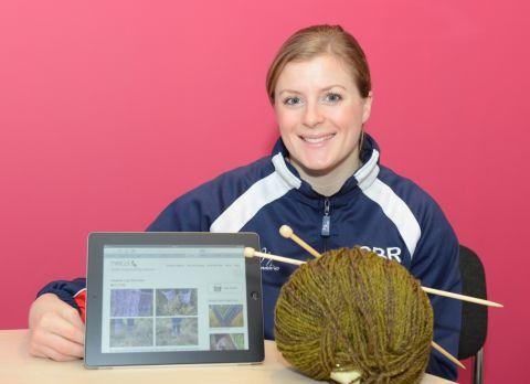 Trampolinist, Laura Gallagher, who is a world and European medallist and is helping to raise money for the CF Trust, with her knitting.