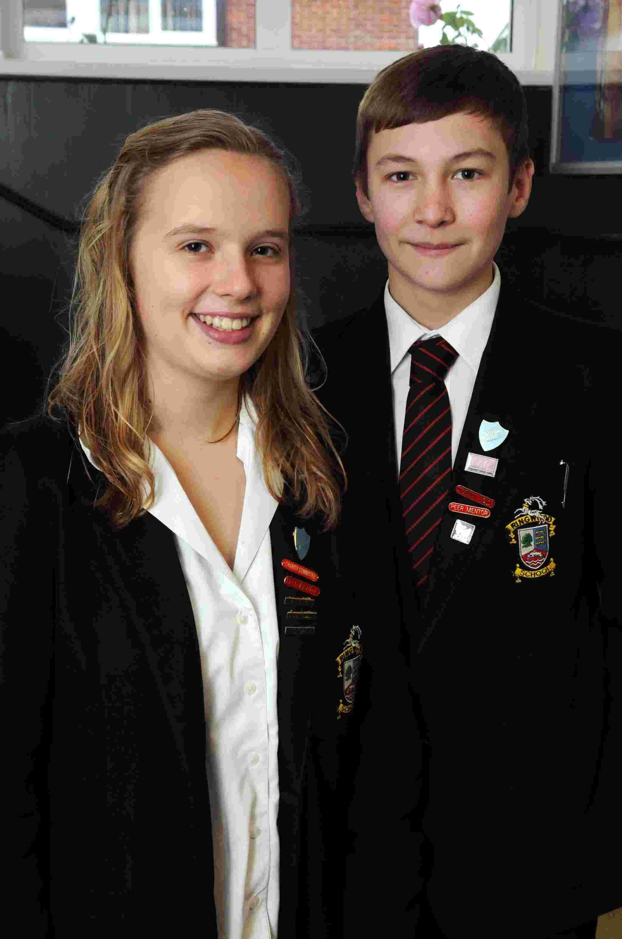 Global ambassadors Millie Wells and Sam Whittingham, from Ringwood School, who are off to India as part of the Send My Friend To School initiative. DC273