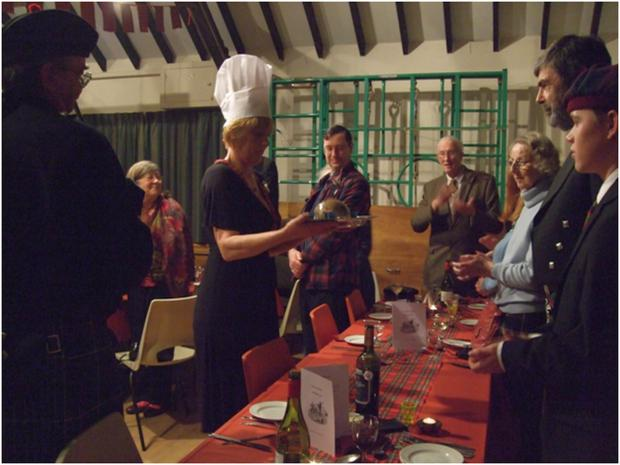 Villagers address the haggis on Burns' Night in Hale.
