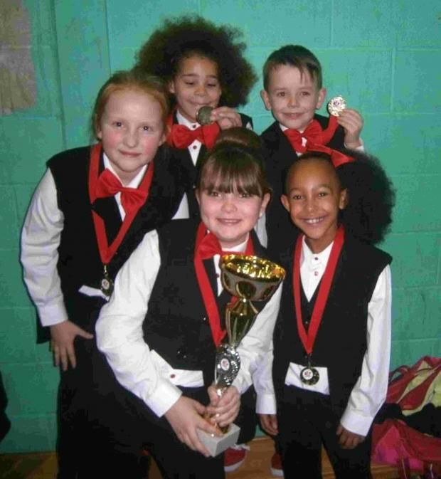 The school's Under 12 Street Dance Group – Verwood's Theo McKenzie Hayton, eight, and Ringwood's Tanesha Bannerman Williams, nine, Finley King, nine, Jasmine King, 10, and Millie Patton, nine.