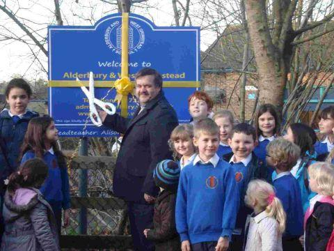 New sign for Alderbury school