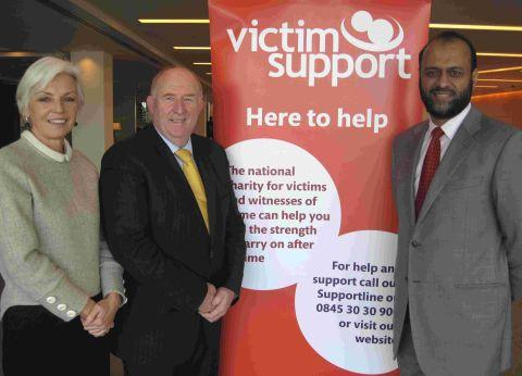 Victim Support chairman of trustees Enid Rowland, Wiltshire and Swindon PCC Angus Macpherson and chief executive of Victim Support Javed Khan